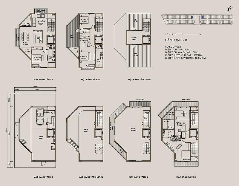 Thiết kế căn loại 3-B Shophouse 88 Central