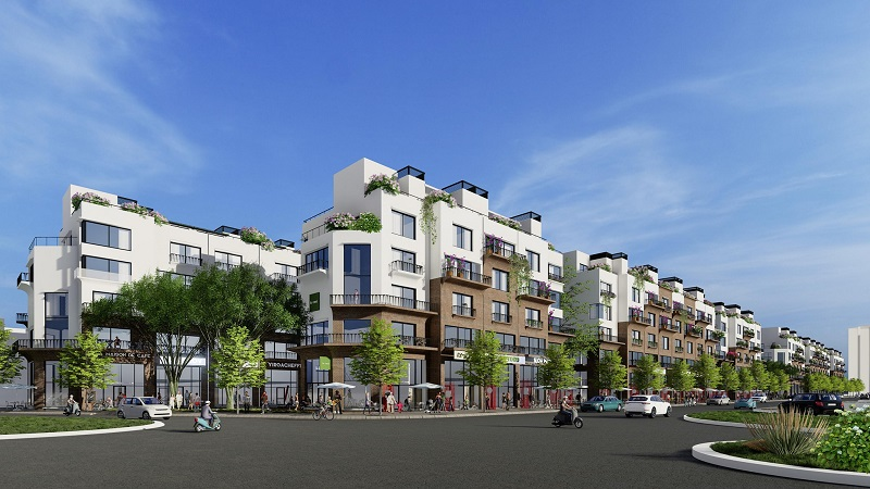 Phối cảnh 11 shophouse 88 central Hà Nội Garden City - Long Biên