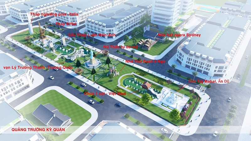 9 quảng trường kì quan tại dự án Việt Hàn City Thái Nguyên