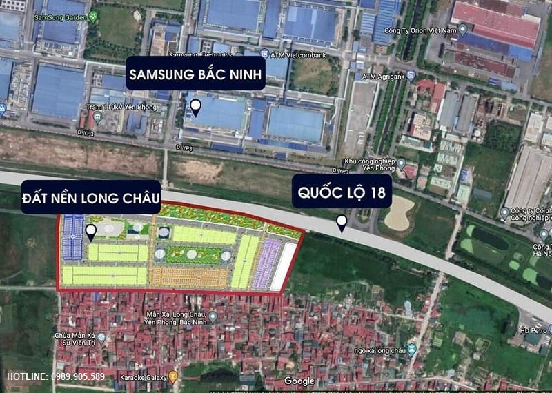 Vị trí đất nền Long Châu Star - Mẫn Xá - Yên Phong - Bắc Ninh
