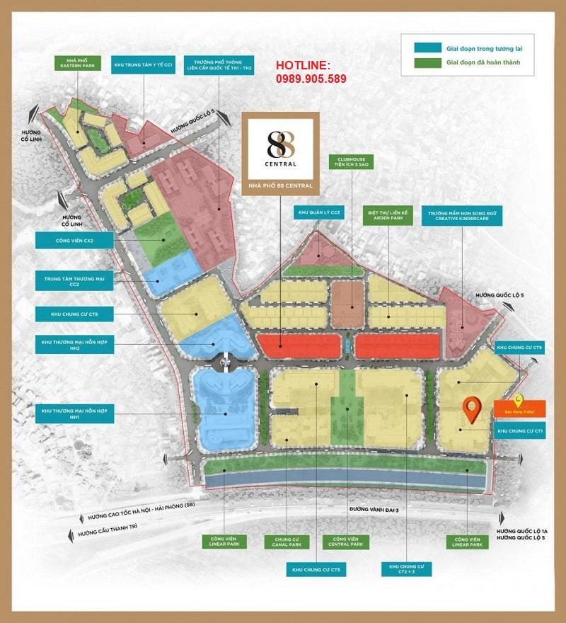 Shophouse 88 Central vị trí trung tâm khu đô thị Hà Nội Garden City